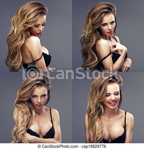 Beautiful sexy blonde woman standing, wearing black sensual lingerie, looking away. - csp18829776