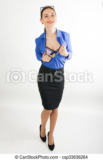 63852855766f2c Beautiful Sexy Woman In A Business Suit Undressing. Concept Of Office  Erotica