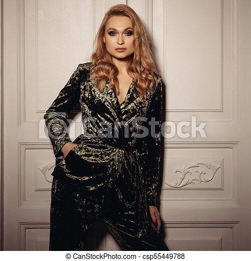 d22dca41b827fe Beautiful sexy woman wear velvet suit clothes for businesswoman office  style - csp55449788