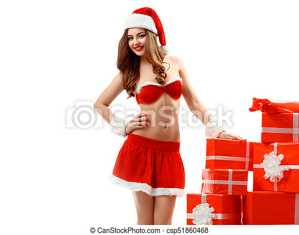4c475f8a8 beautiful sexy young woman in red suit of Santa Claus with gift -  csp51860468