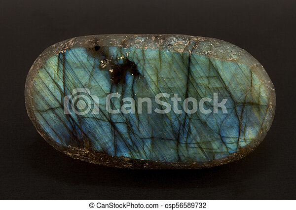 Beautiful shimmering slice of the mineral labradorite - csp56589732