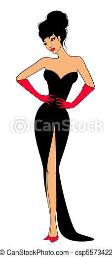 beautiful silhouette of girl - csp5573422