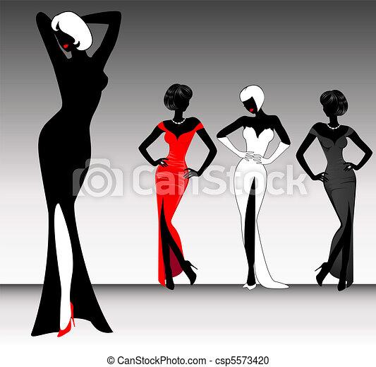 beautiful silhouette of girl - csp5573420