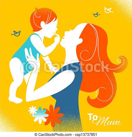 Beautiful silhouette of mother and baby in retro style. Cards of Happy Mother's Day - csp13737851