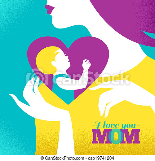 Beautiful silhouette of mother and baby in heart. Card of Happy Mother's Day - csp19741204