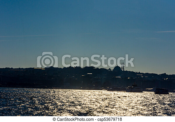 beautiful silhouette of part of  Istanbul - csp53679718
