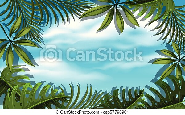Beautiful Sky Template with Tree Leaf - csp57796901