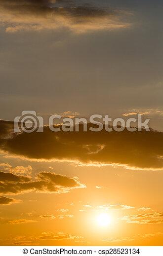 beautiful sky with clouds at sunset - csp28523134
