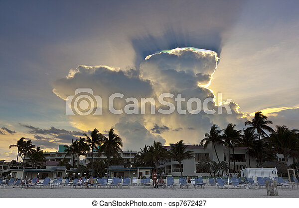 beautiful sky with clouds at the beach in sunset - csp7672427