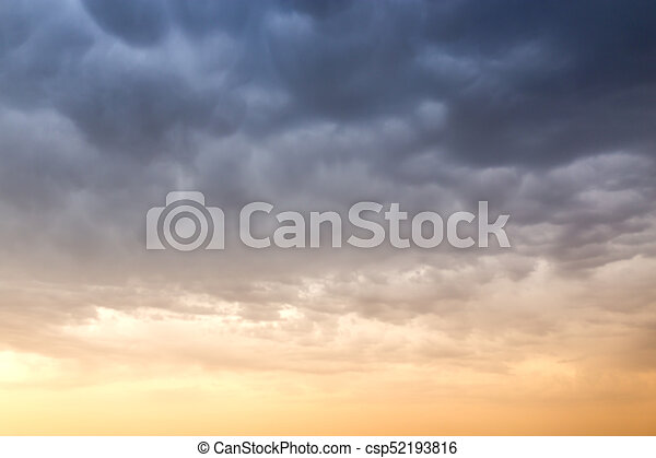 beautiful sky with clouds in the evening - csp52193816