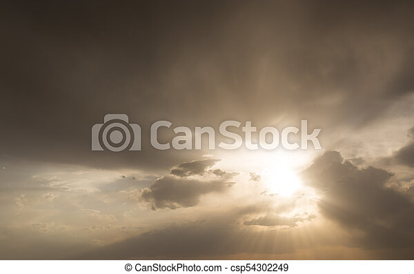 beautiful sky with clouds in the evening - csp54302249