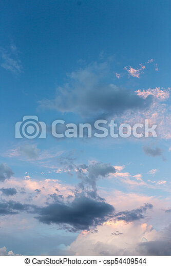 beautiful sky with clouds in the evening - csp54409544