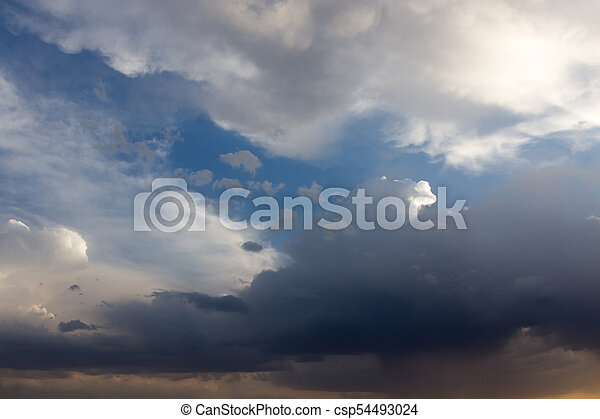 beautiful sky with clouds in the evening - csp54493024