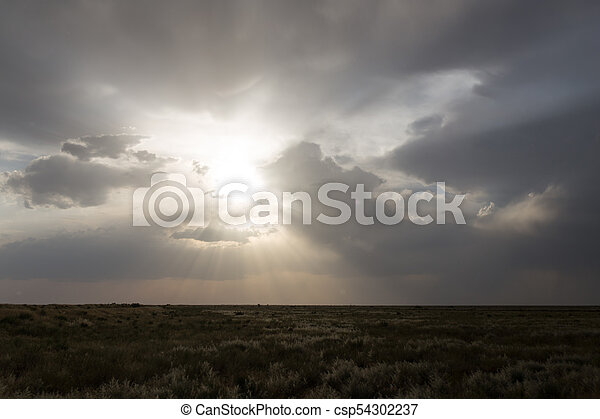 beautiful sky with clouds in the evening - csp54302237