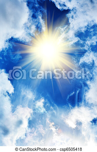 Beautiful sky with sun and clouds - csp6505418
