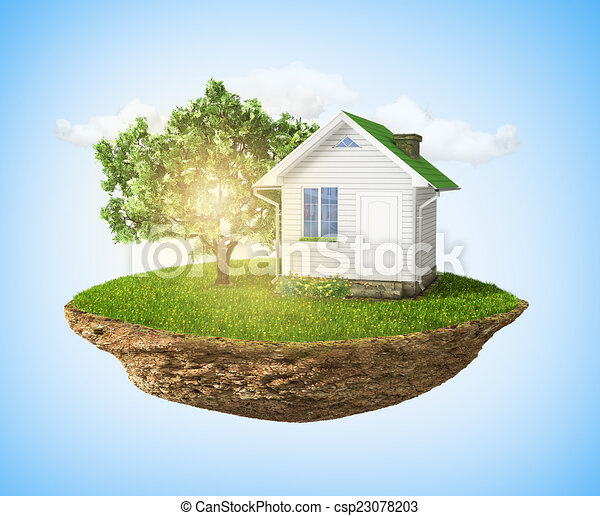 Beautiful small island with grass and tree and house levitating - csp23078203