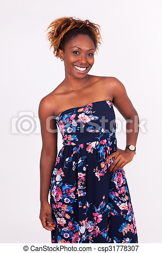 Beautiful smiling African American woman portrait - csp31778307