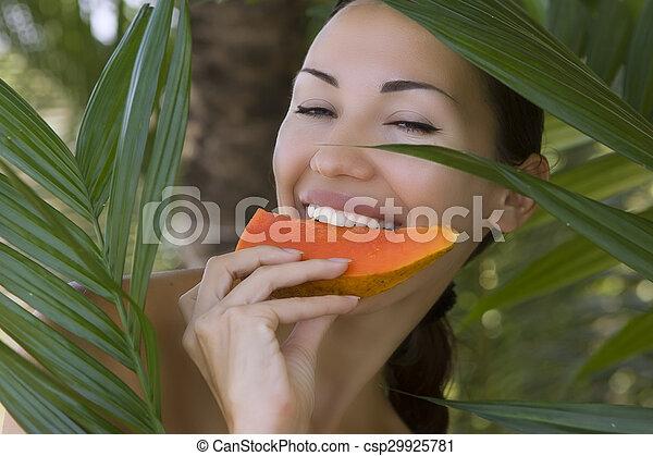 Beautiful Smiling Caucasian Woman With Fresh Fruit Papaya Outdoors Healthy Natural Exotic Food