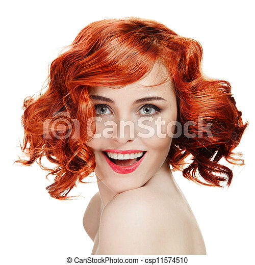 Beautiful smiling woman portrait on white background - csp11574510