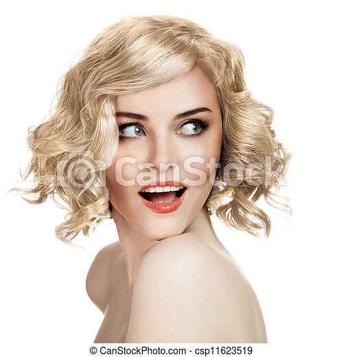 Beautiful Smiling Woman Portrait On White Background - csp11623519