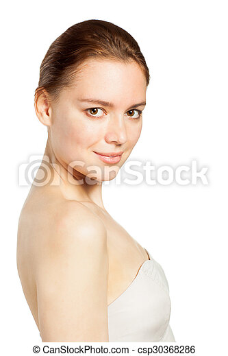 Beautiful smiling woman portrait on white background - csp30368286