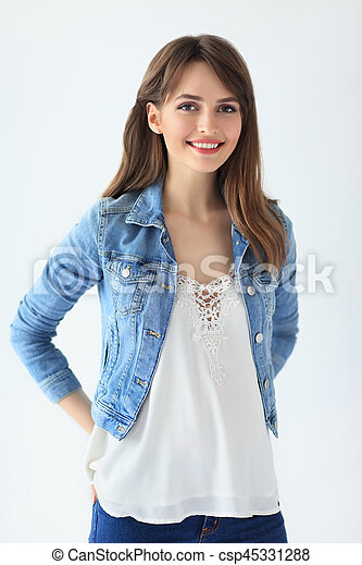 Beautiful smiling woman portrait on white background - csp45331288
