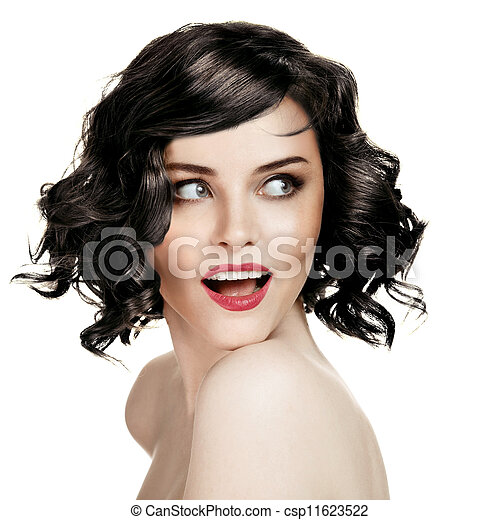 Beautiful Smiling Woman Portrait On White Background - csp11623522