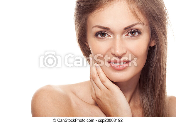 Beautiful smiling woman portrait on white background - csp28803192