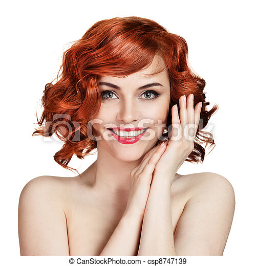 Beautiful smiling woman portrait on white background - csp8747139