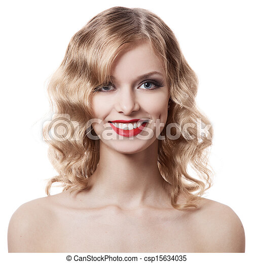 Beautiful smiling woman portrait on white background - csp15634035