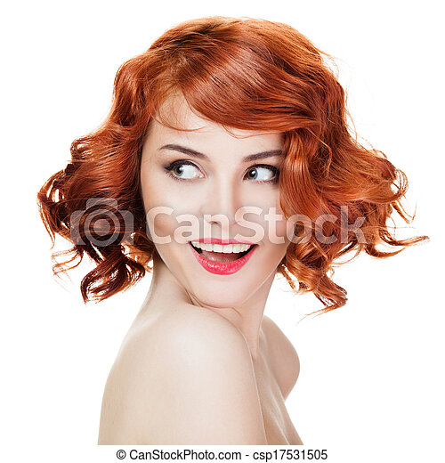 Beautiful smiling woman portrait isolated on white background - csp17531505