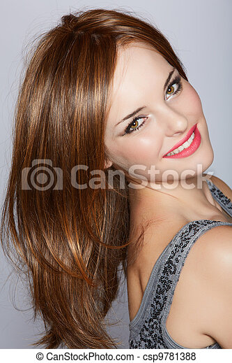 beautiful smiling woman with long hair - csp9781388