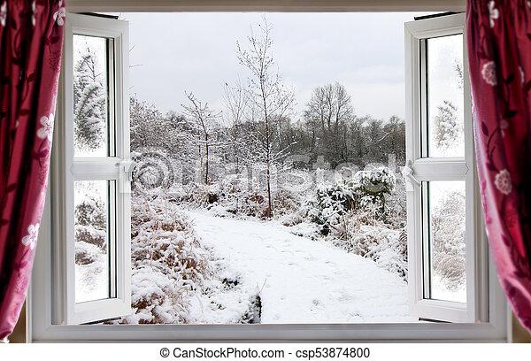 Beautiful Snow Path Scene Through An Open Window View