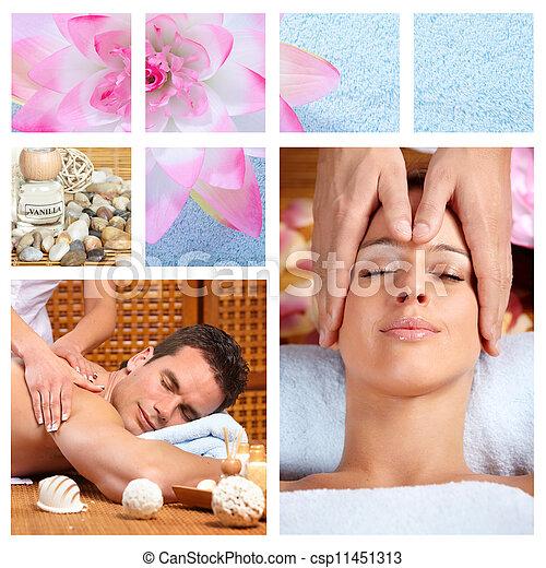 Beautiful Spa massage collage. - csp11451313