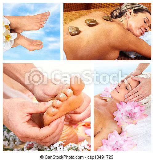 Beautiful Spa massage collage. - csp10491723