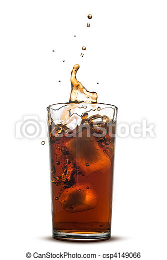 Beautiful splash of cola in glass isolated on white - csp4149066