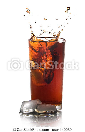 Beautiful splash of cola in glass isolated on white - csp4149039