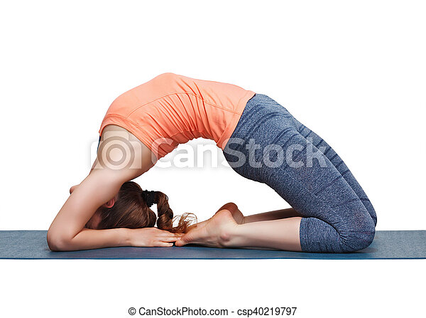 beautiful sporty fit yogi girl practices yoga asana