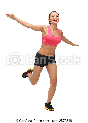 beautiful sporty woman doing exercise - csp12573818