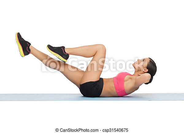 beautiful sporty woman doing exercise - csp31540675