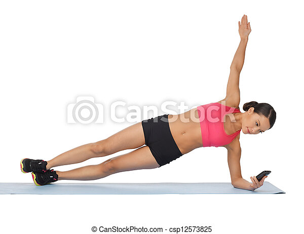 beautiful sporty woman doing exercise - csp12573825