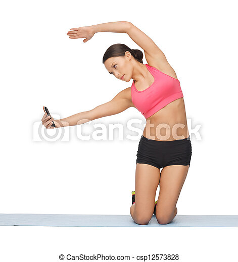 beautiful sporty woman doing exercise - csp12573828