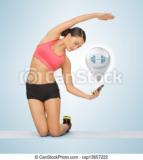 beautiful sporty woman doing exercise - csp13657222