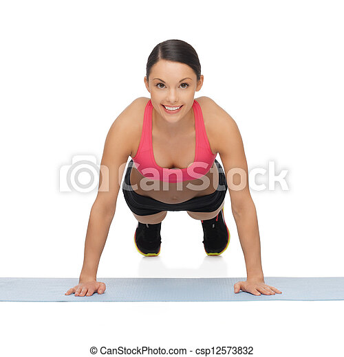 beautiful sporty woman doing exercise - csp12573832