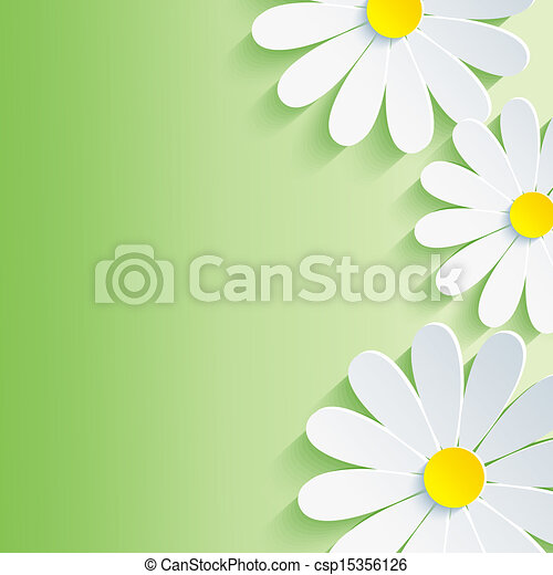 Beautiful Spring Abstract Background 3d Flower Chamomile