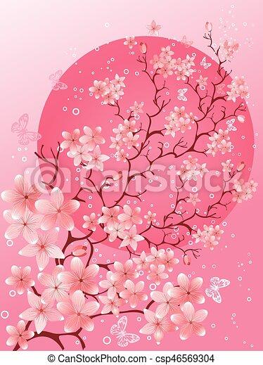 Beautiful spring. Cherry blossom background - csp46569304