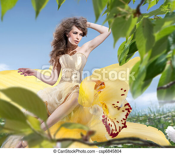 Beautiful Spring Girl with flowers - csp6845804