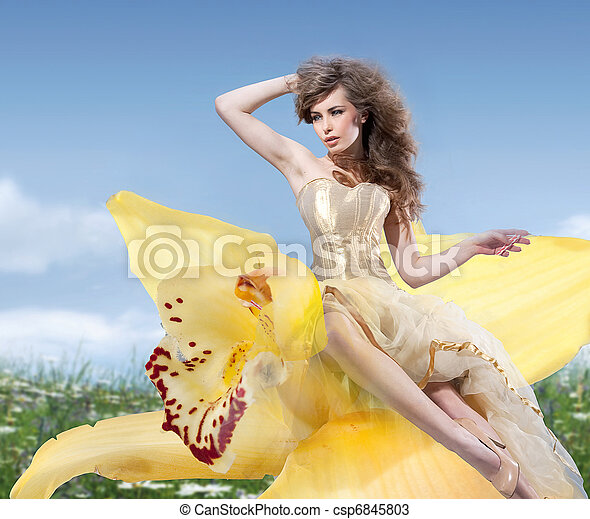 Beautiful Spring Girl with flowers - csp6845803