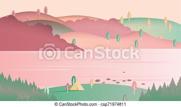 Beautiful spring scenery landscape, camping tent on small hill with lake and mountain, pink and green tones - csp71974811