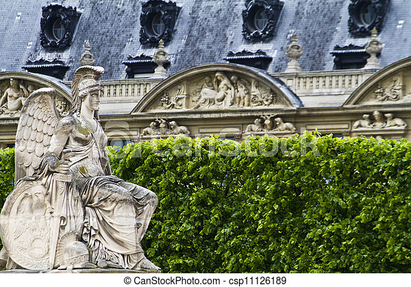 beautiful statues located on the Avenue des Champs-Elysees in Paris, France - csp11126189